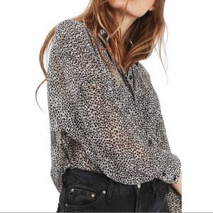 TOPSHOP Stars All Over Print Blouse Button Down 6